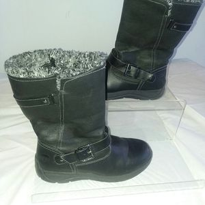 TOTES Black Faux Fur Lined boots 7.5